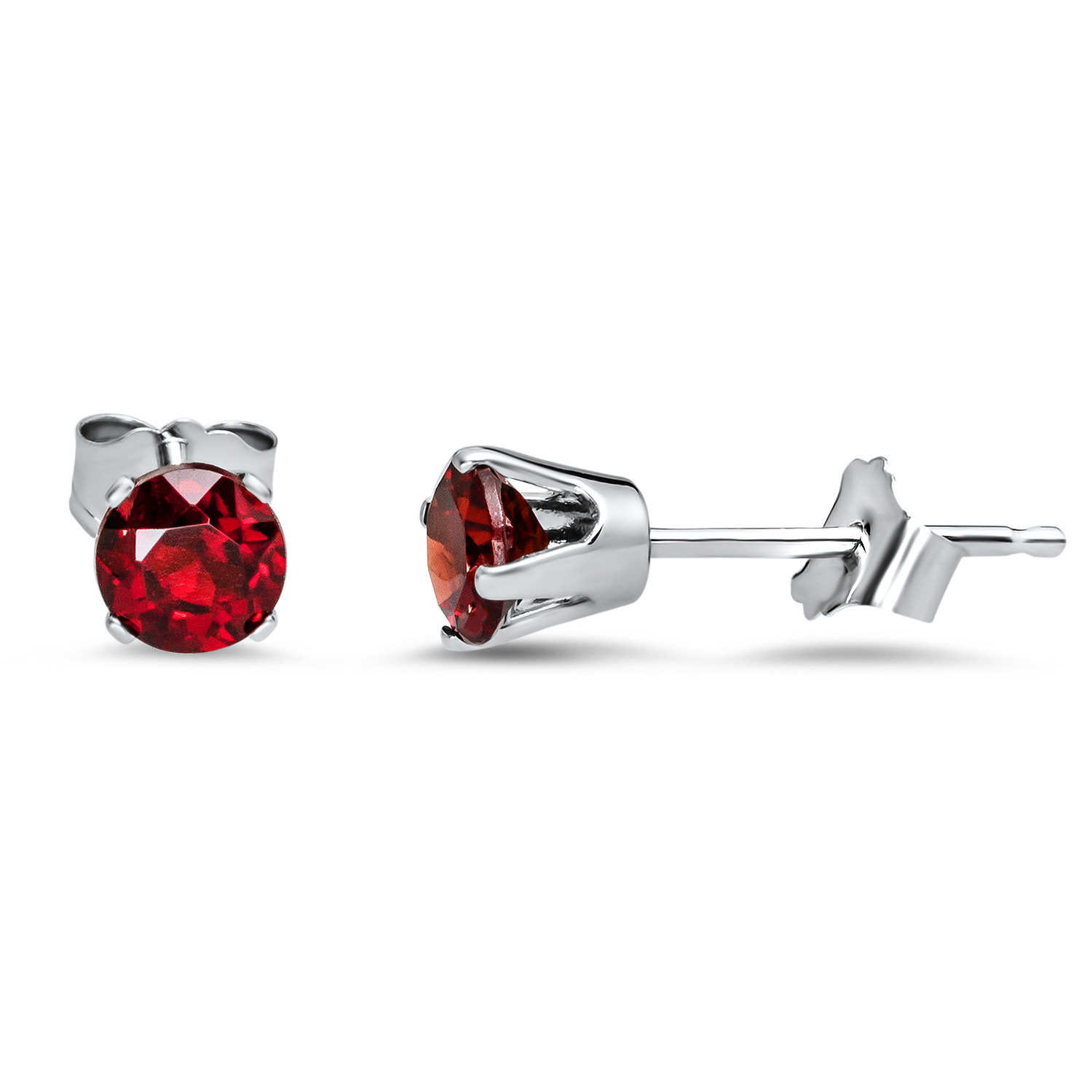 14k White Gold 4 mm Ruby Stud Earrings